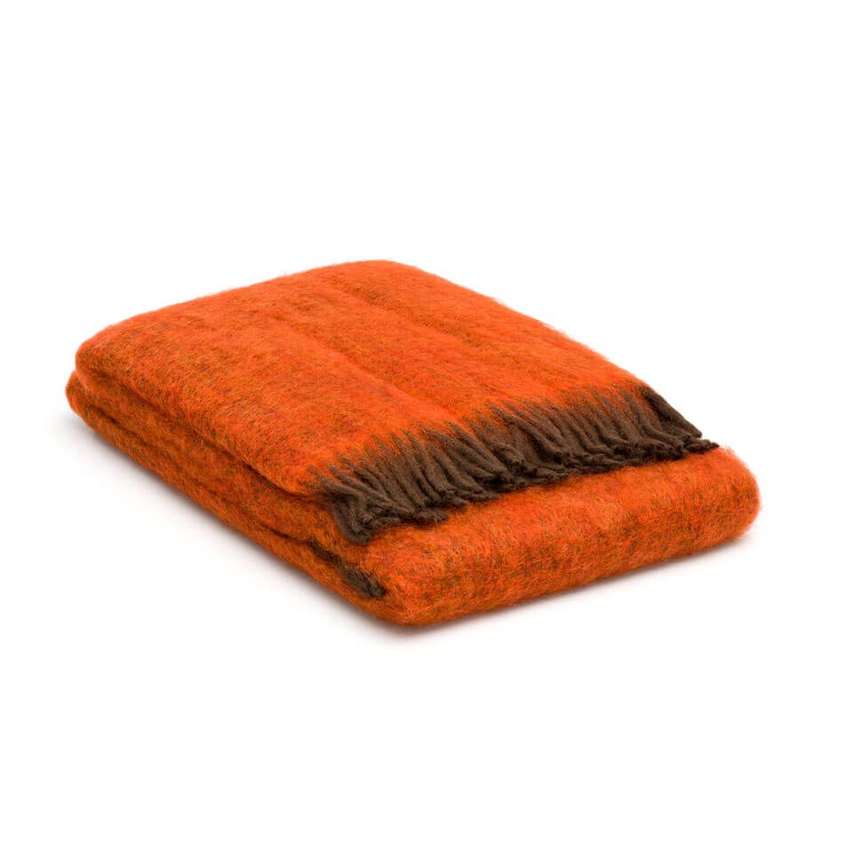 Plaid Mohair Oranje Met Donkerbruine Franjes Orange Towel