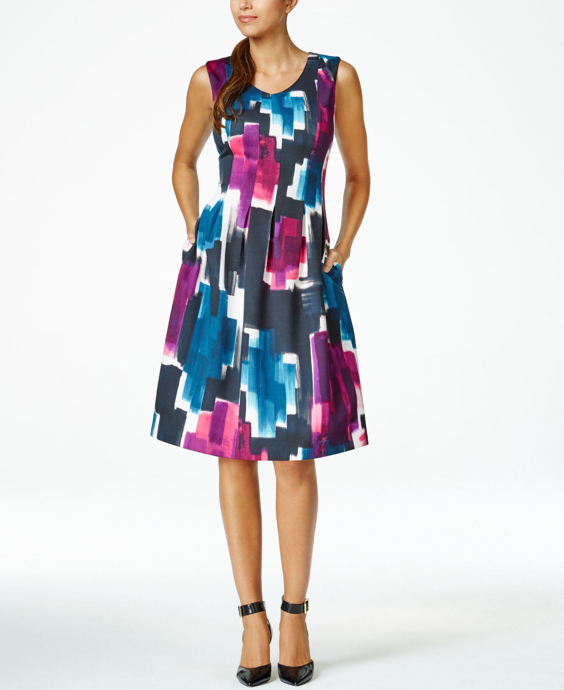 Ellen Tracy Printed Sleeveless A-Line Dress