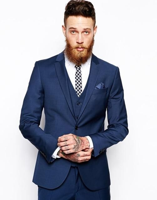 Fashionable One Button Dark Blue Groom Tuxedos Groomsmen Mens ...