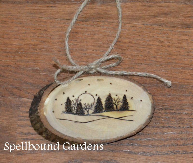 Handmade Rustic Wood Burn Snow Scene Holiday Wood Slice Tree Ornament #Handmade