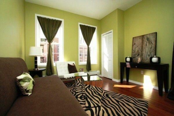 Wohnideen Zeitgenössisch Wohnzimmer Farbgestaltung In Grün Teppich