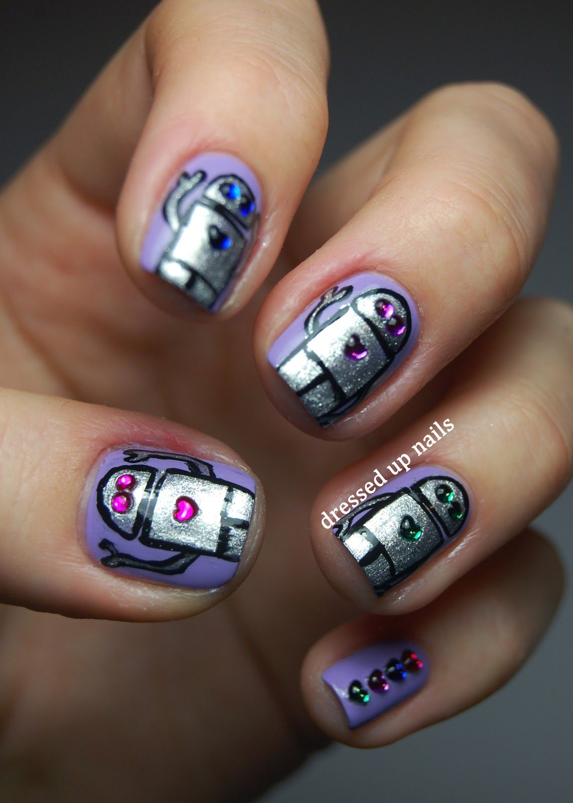 Dressed Up Nails - robot and rhinestone nail art | People who are ...