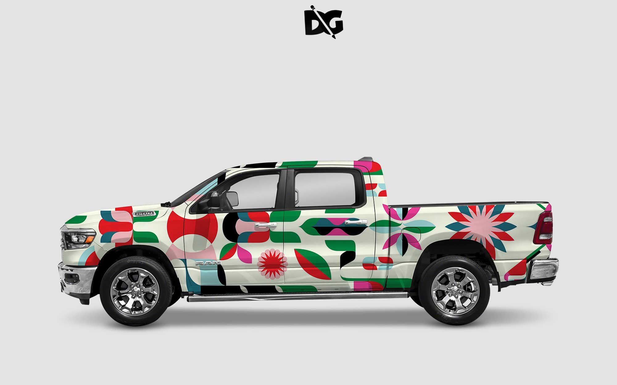 Free Awesome Car Wrap Design Mockup