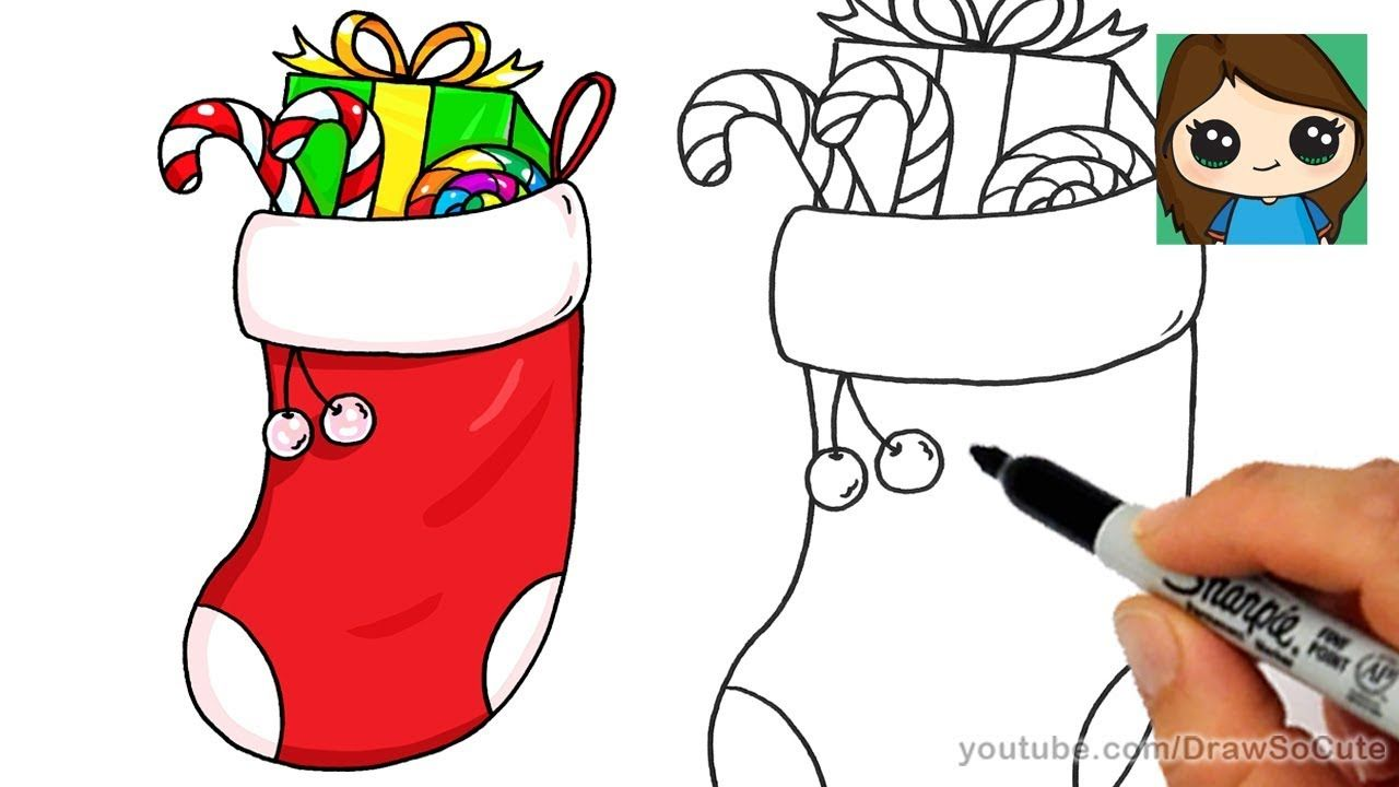 How To Draw A Christmas Stocking Easy Youtube Cute