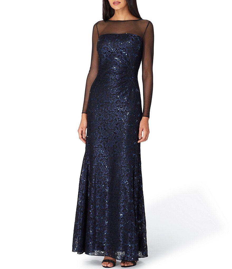 Tahari Asl Illusion Neck Sequin Lace Gown Illusion Asl Tahari Evening Dress Fashion Women S Evening Dresses Evening Dresses Long [ 1020 x 880 Pixel ]