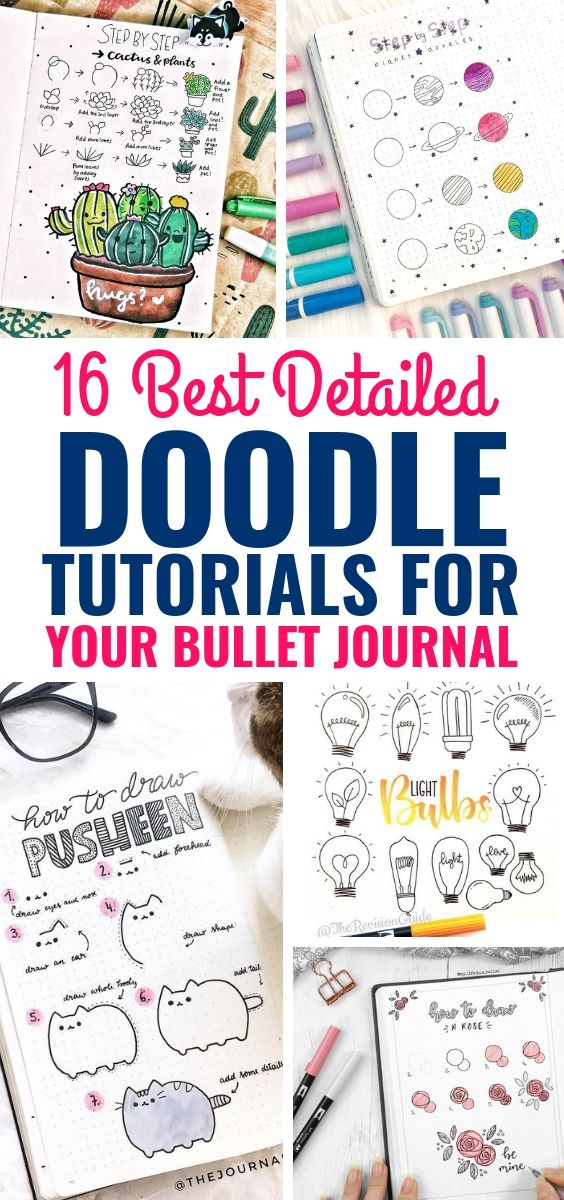 OMG! These How To Doodle Tutorials for your bullet journal are AMAZING! So many fun and pretty things anyone can draw. LOVE this. #bulletjournal #bujo #doodles #diy