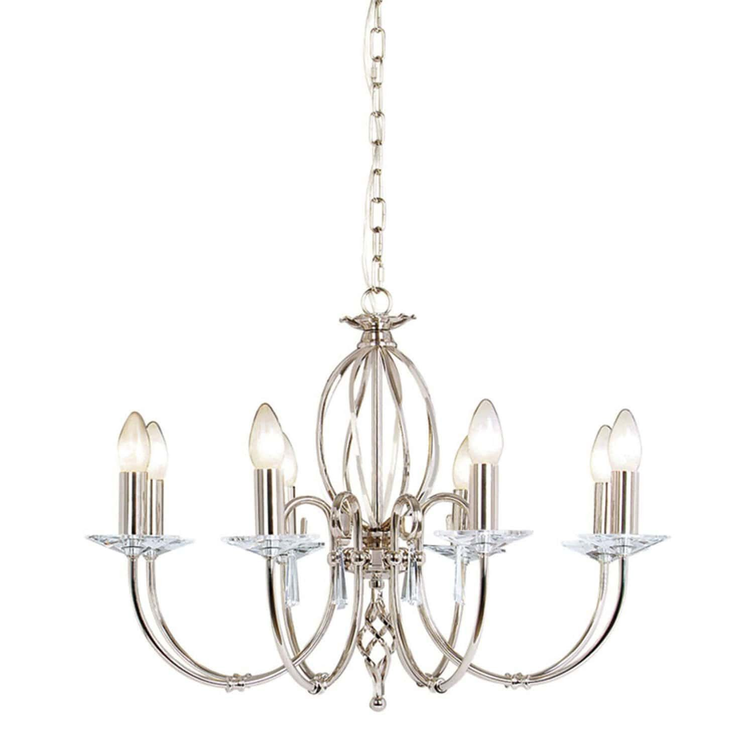 Elstead Aegean 8 Light Silver Nickel Candle Chandelier
