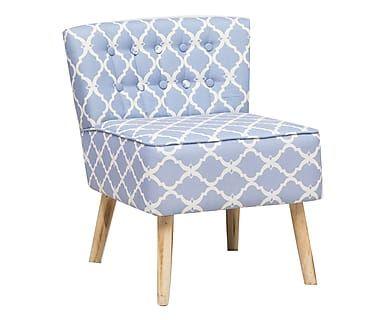 Poltroncina in abete e cotone Nordic bianco/azzurro, 62x71x65 cm