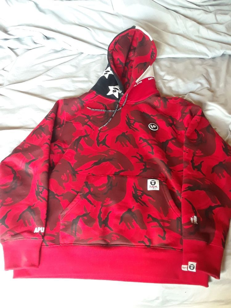 9399638fa06222 aape hoodie by a bathing ape removable patch XL red camo American flag hood   fashion  clothing  shoes  accessories  mensclothing  activewear (ebay link)