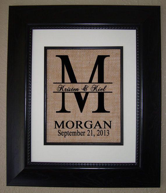 Personalized Monogram Burlap Print Wedding Gift Housewarming Anniversary
