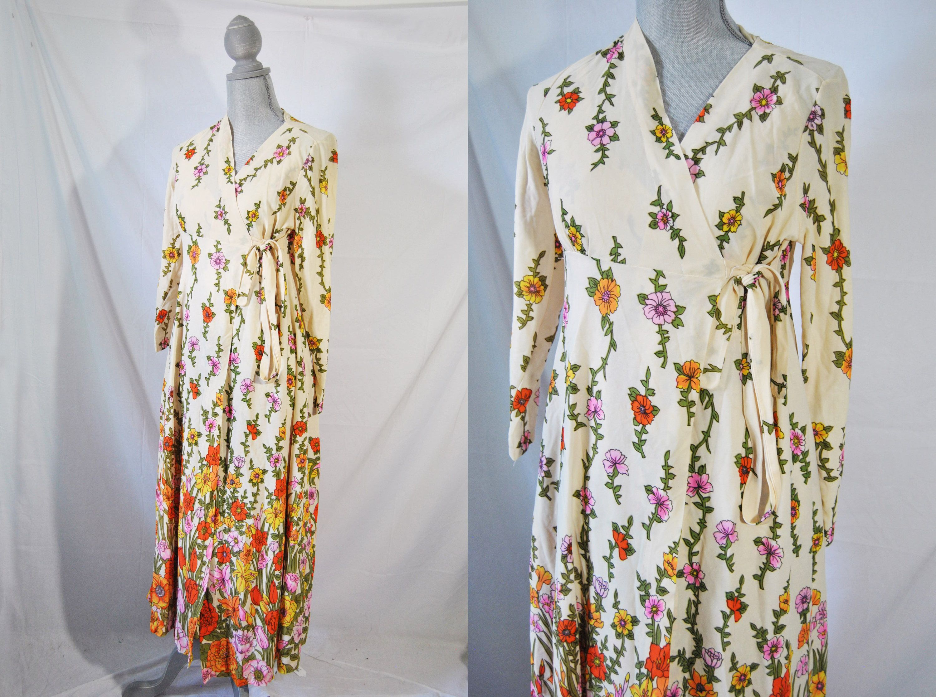 Vintage 70s Long Floral Dressing Gown 60s Mad Men Lingerie Bohemian ...