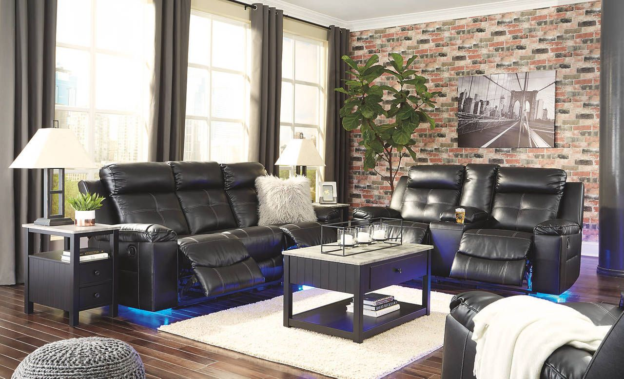 Signature Design By Ashley Kempten Reclining Sofa Loveseat With Led Lighting In 2020 Black Reclining Sofa 3 Piece Living Room Set Reclining Sofa