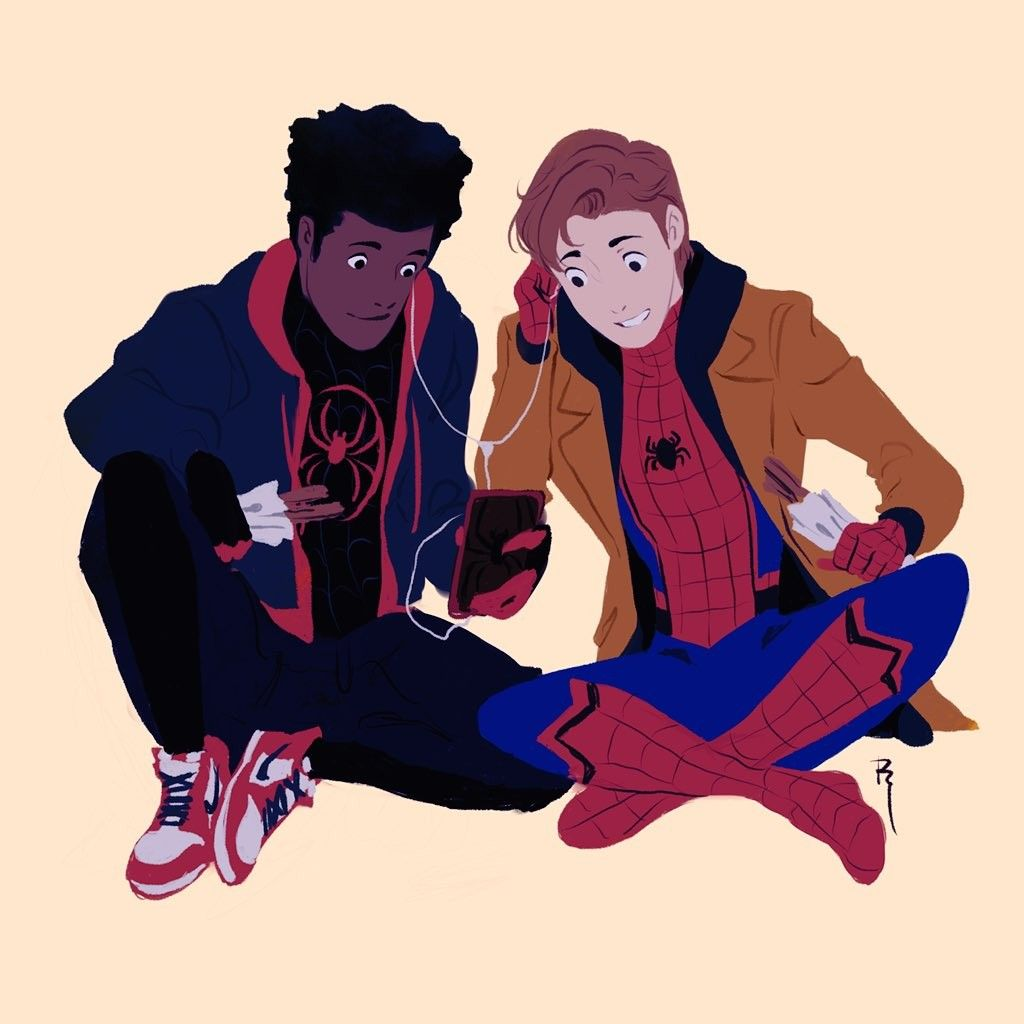 Peter Parker Aka Queens Spider Man And Miles Morales Aka Brooklyns Spider Man Marvel Spiderman Superhero Comic Spiderman