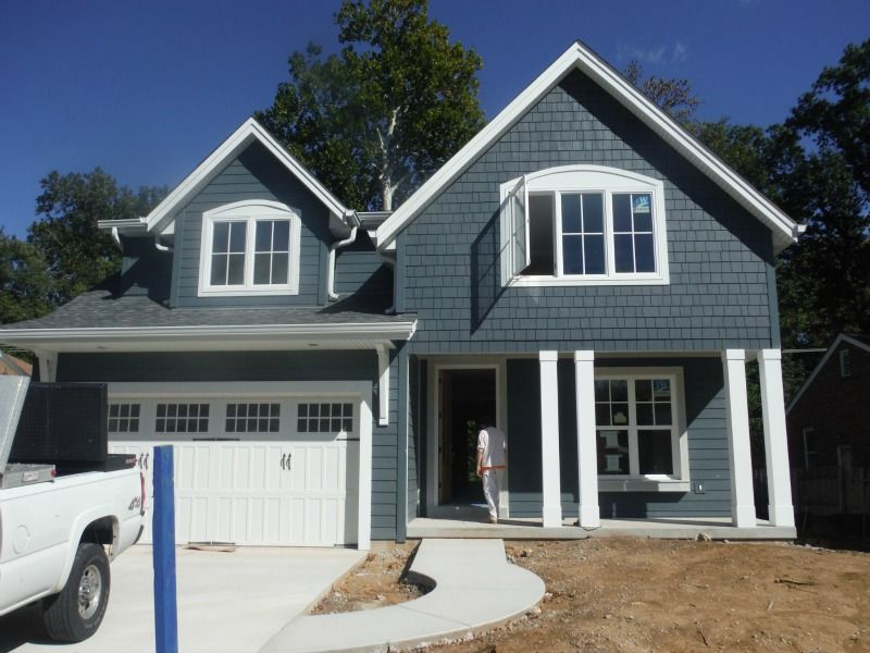 Front Of The House In Evening Blue Lap Siding House Siding Blue Siding House Exterior