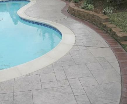 concrete pool deck ideas | natural flagstone decking pavers