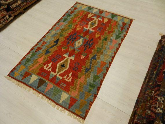 """HandWoven Kilim Rug Turkish Kilim Rug 3'5"""" x 5'6"""" Vintage Kilim Rug Decorative Kilim Rug Bohemian Kilim Rug Turkish Rug Home decor Kilim Rug"""