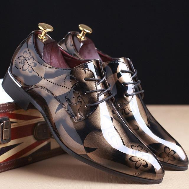 cc6b7775bd4 GNOME Men Dress Shoes Floral Pattern Men Formal Shoes Leather Luxury ...