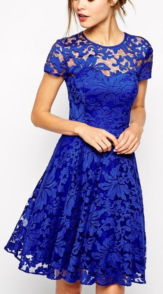 Blue Floral Grenadine Double-deck Short Sleeve Lace Dress - Midi ...
