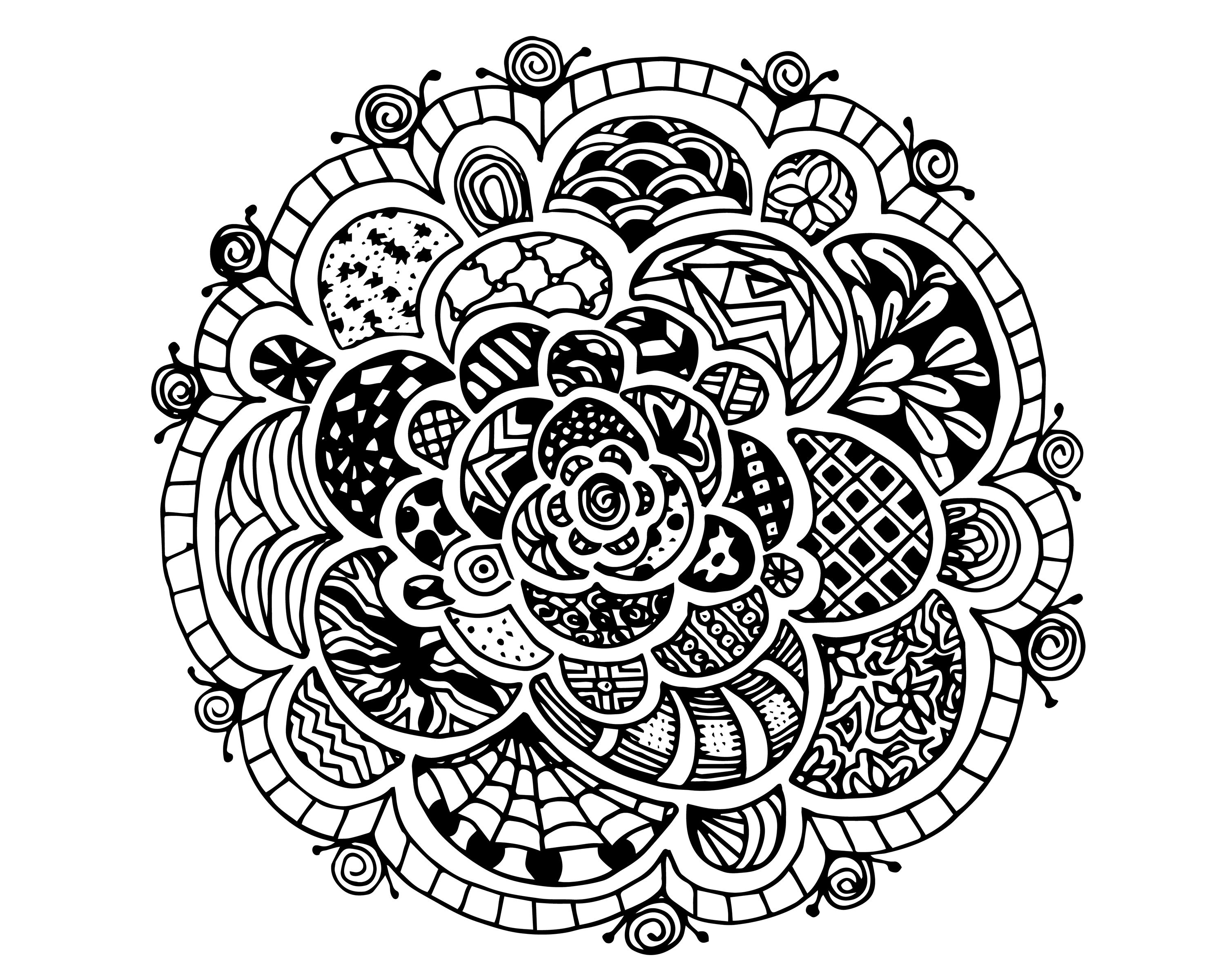 Printable coloring pages zen - Free Zen Rose Adult Coloring Page
