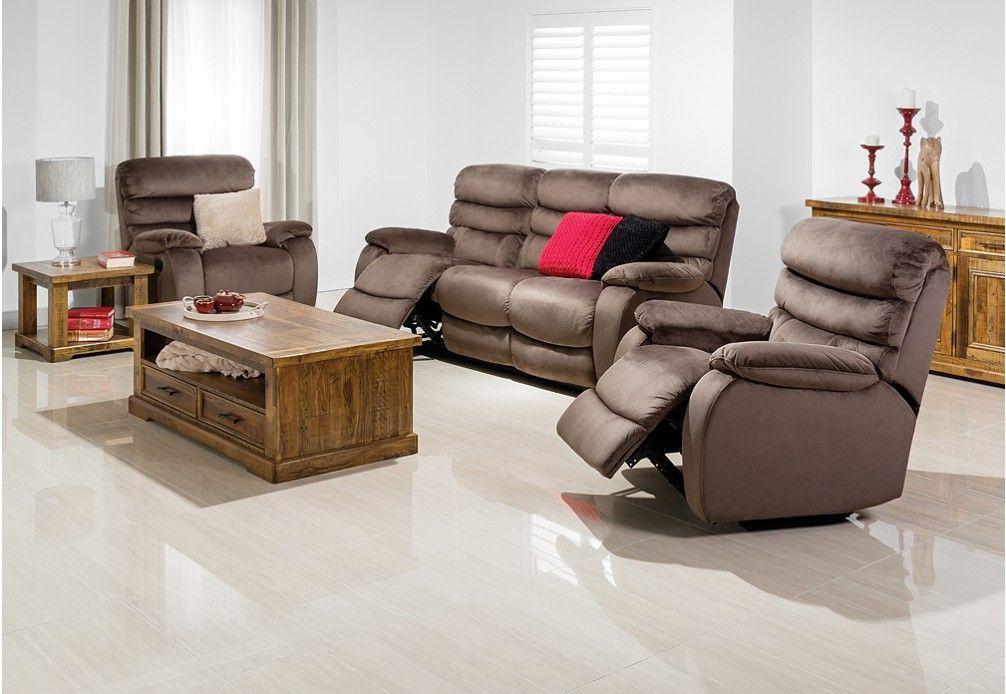 Easton 3 Piece Microfibre Recliner Suite | Super Amart ...