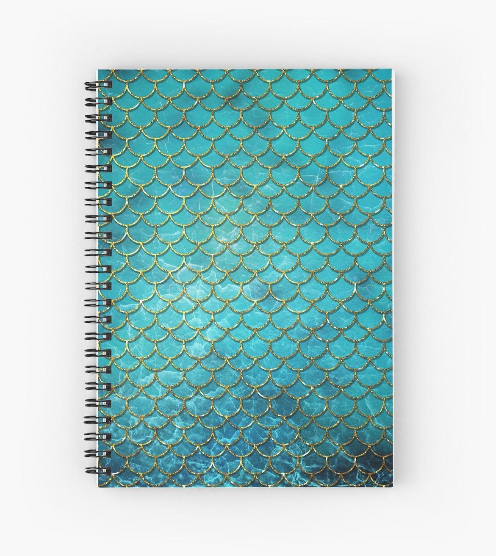 Mermaid Pattern Spiral Notebook By Quaintrelle Cadernos