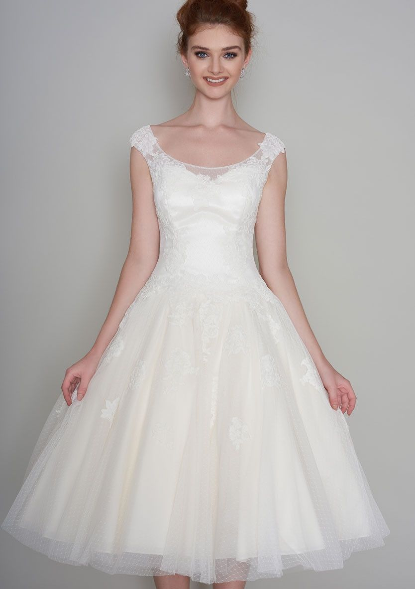 86-winnie Tea length wedding dress with dropped waist dress