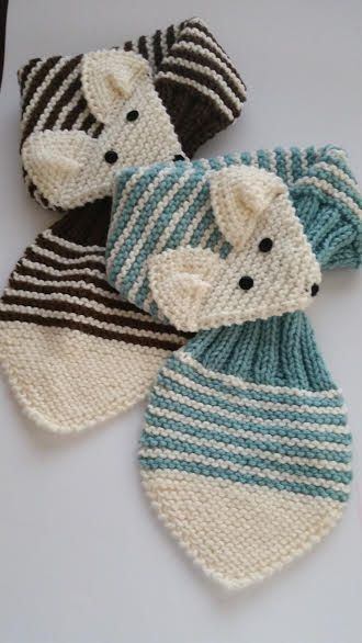 KIDS Adjustable Stripe Fox Scarf Hand Knit scarf / Neck warmer Brown ...
