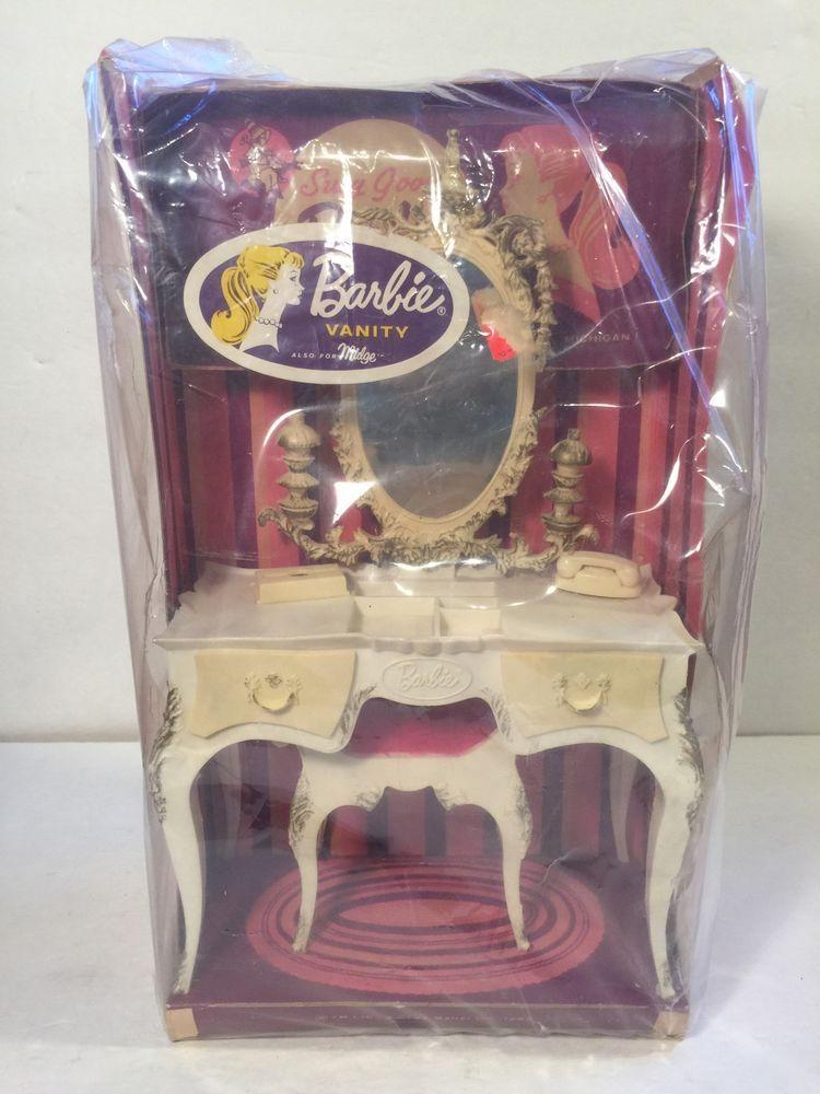 1963 Vintage Barbie Vanity Mirror Stool Bench And