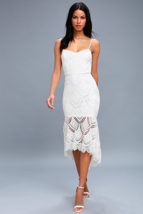 93aa85923dd Lulus Exclusive! Heat up the dance floor in the Pure Passion White Lace  Bodycon Midi Dress! Adjustable spaghetti straps top a sleeveless  princess-seamed ...