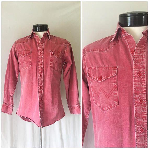 Vintage Mens Wrangler Shirt / Faded Red Western Shirt / Western ...
