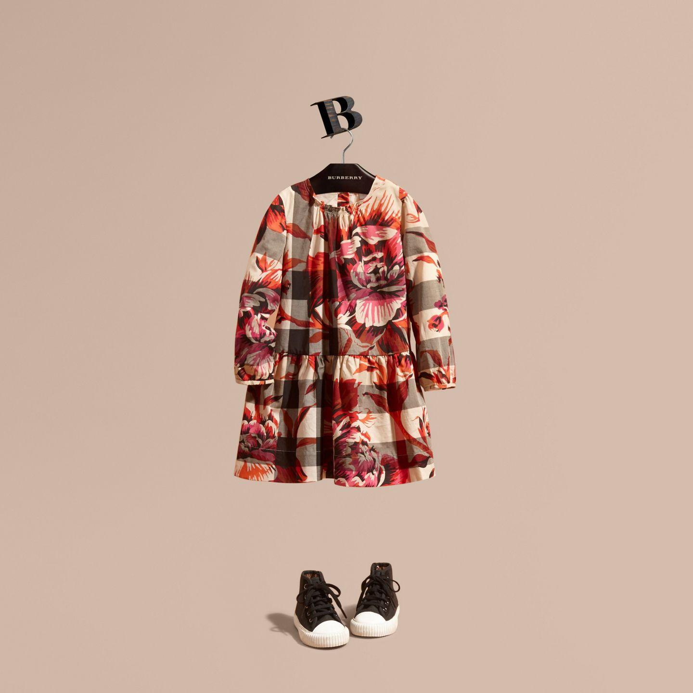 Peony Rose Print Check Cotton Dress   Burberry