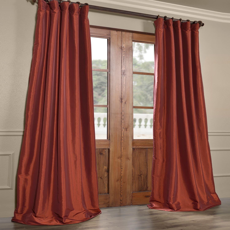 Paprika Blackout Faux Silk Taffeta Curtain Faux Silk Curtains Half Price Drapes Orange Curtains