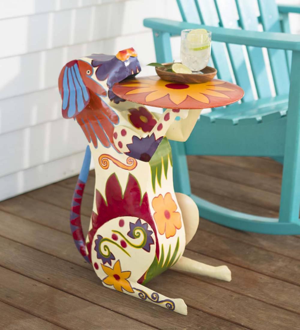 Handmade Colorful Painted Folk Art Metal Dog Side Table In 2020