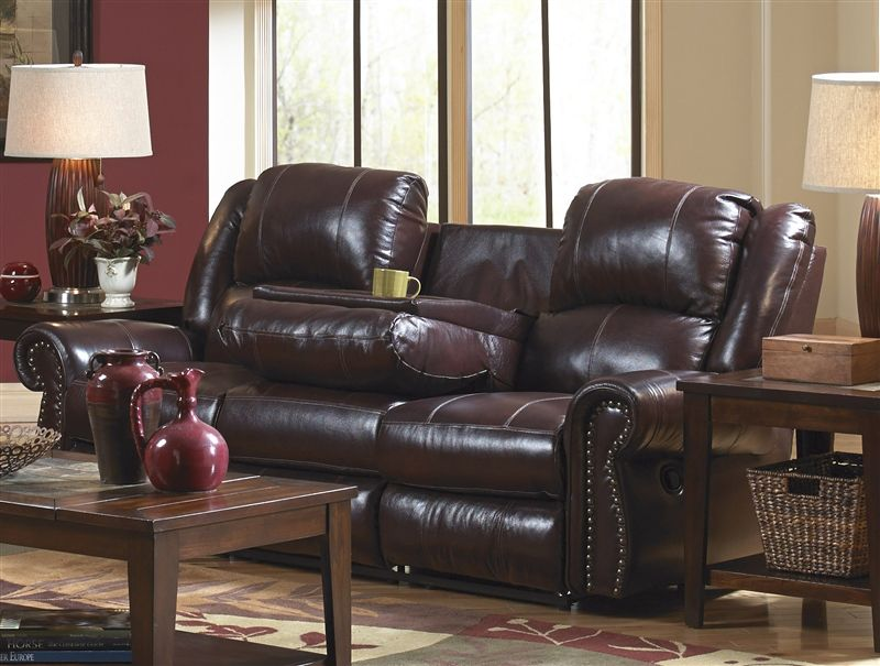 Brilliant Livingston Leather Reclining Sofa With Drop Down Table By Ocoug Best Dining Table And Chair Ideas Images Ocougorg