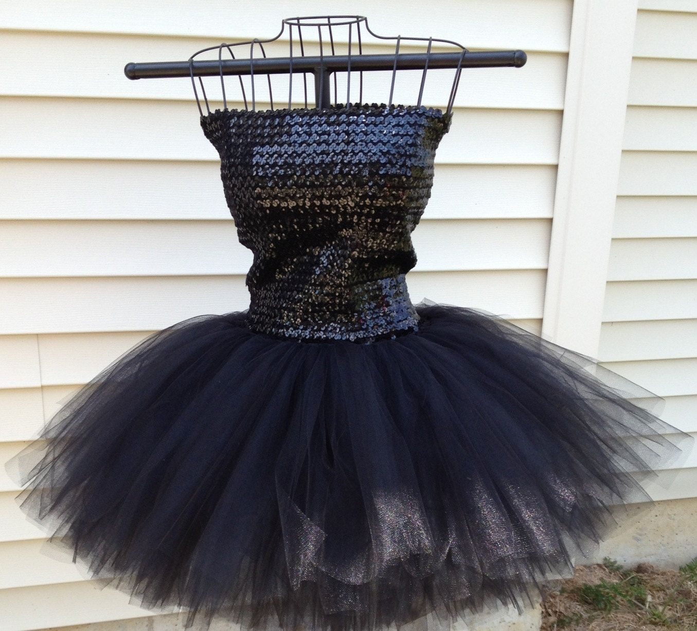 teen adult - x small to medium black sequin - vintage strapless tube