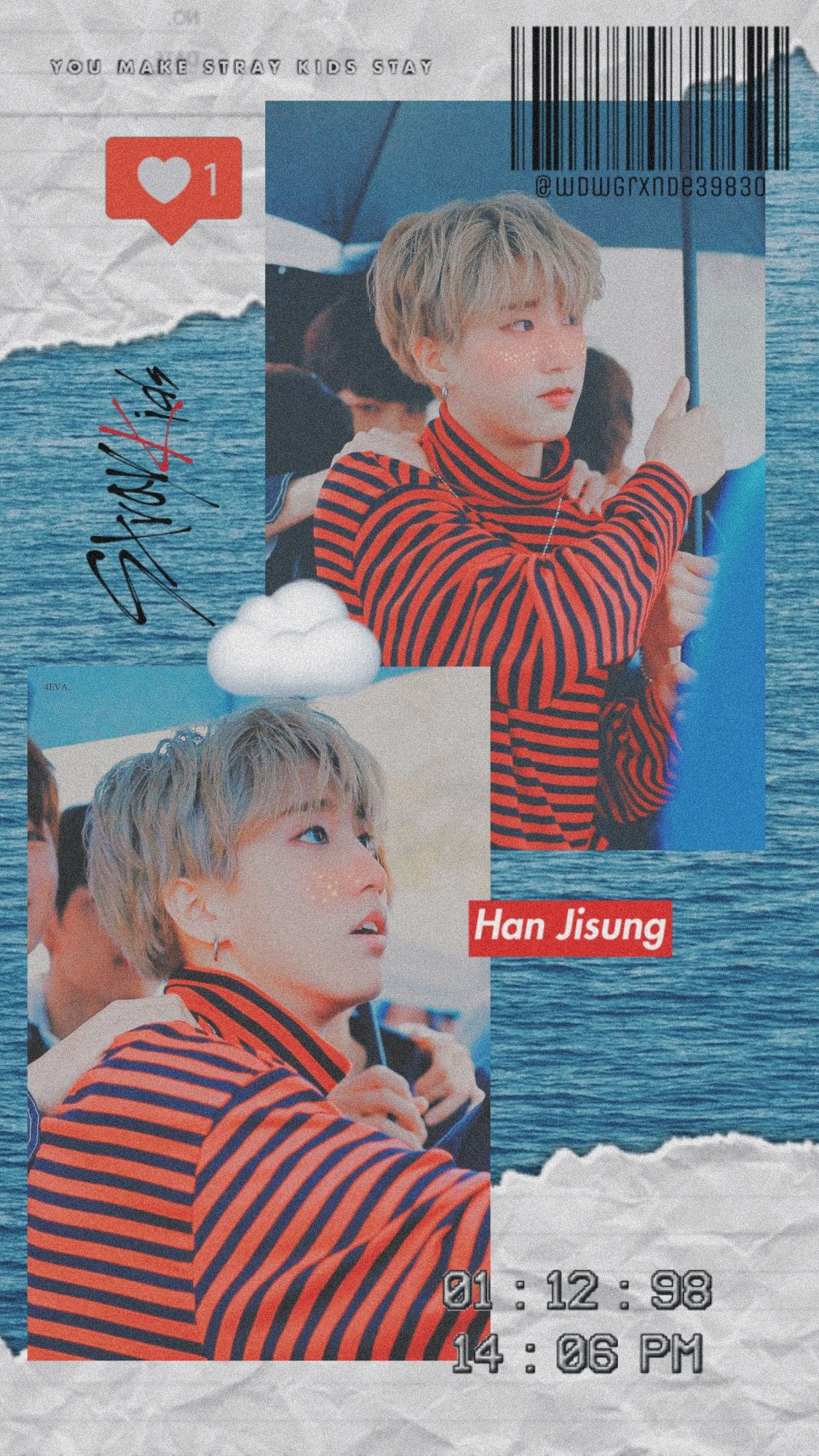iPhone wallpaper han jisung stray kids red blue aesthetic
