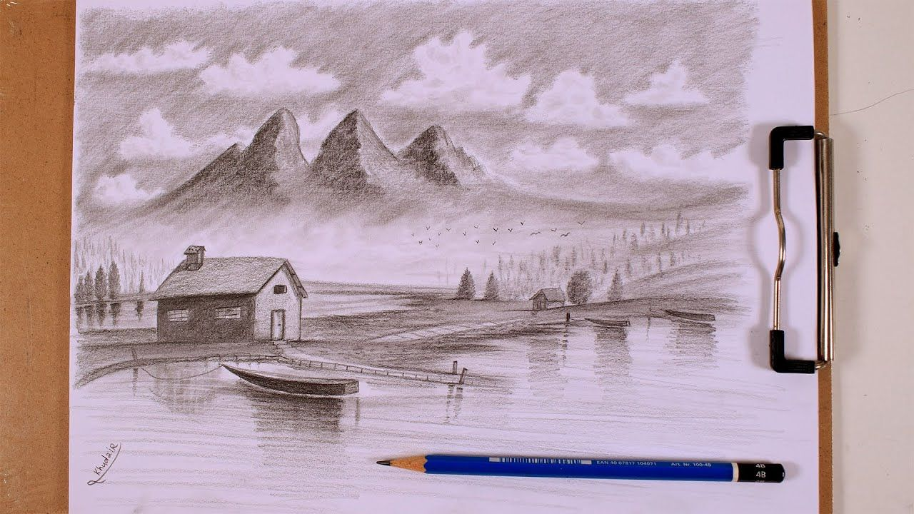 Pencil Drawing How To Draw A Fantasy Landscape Fantasy Landscape Pencil Drawings Abstract Artwork