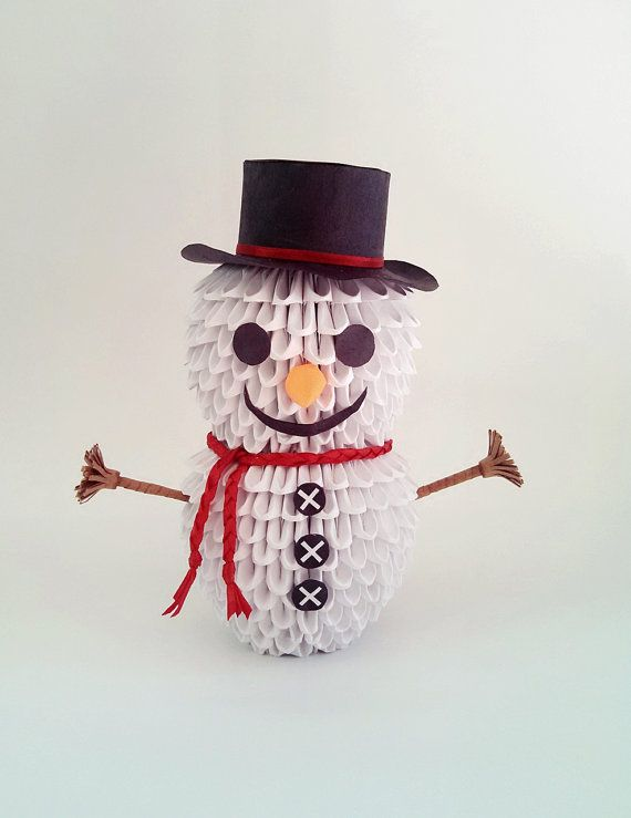 3d Origami Snowman Paper By ArtsyHandsCreations