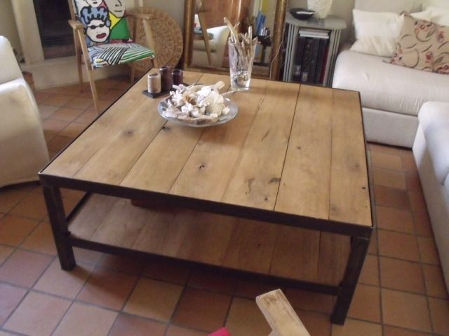 Table de salon design bois m tal table basse style industriel idees d co - Deco table basse salon ...