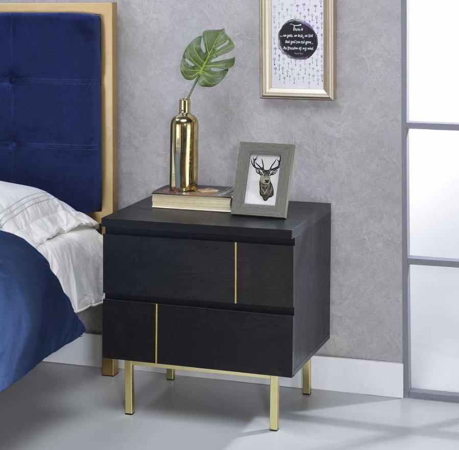 Shadan Nightstand End Table In Black Acme Furniture 97550 Wooden Nightstand Black Nightstand Furniture