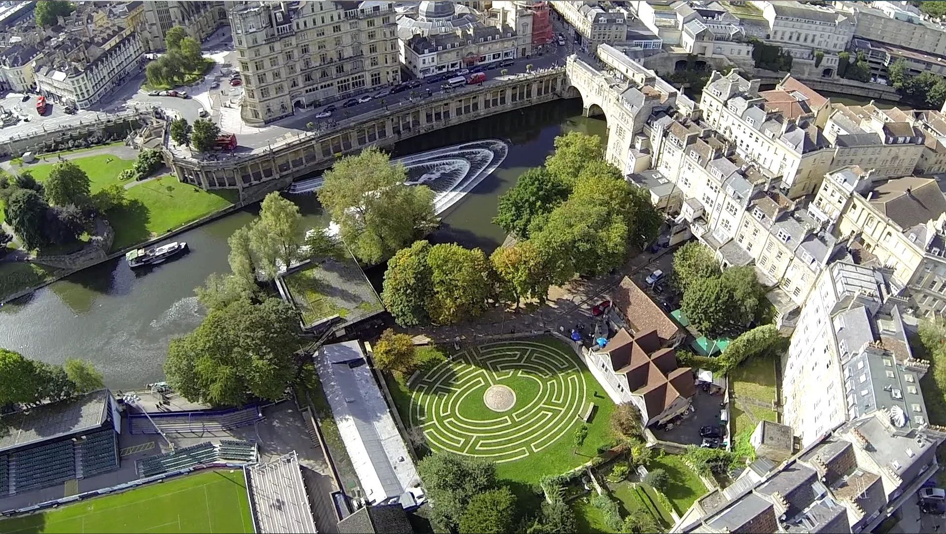 Aerial View of Pulteney Weir and the Beazer Maze