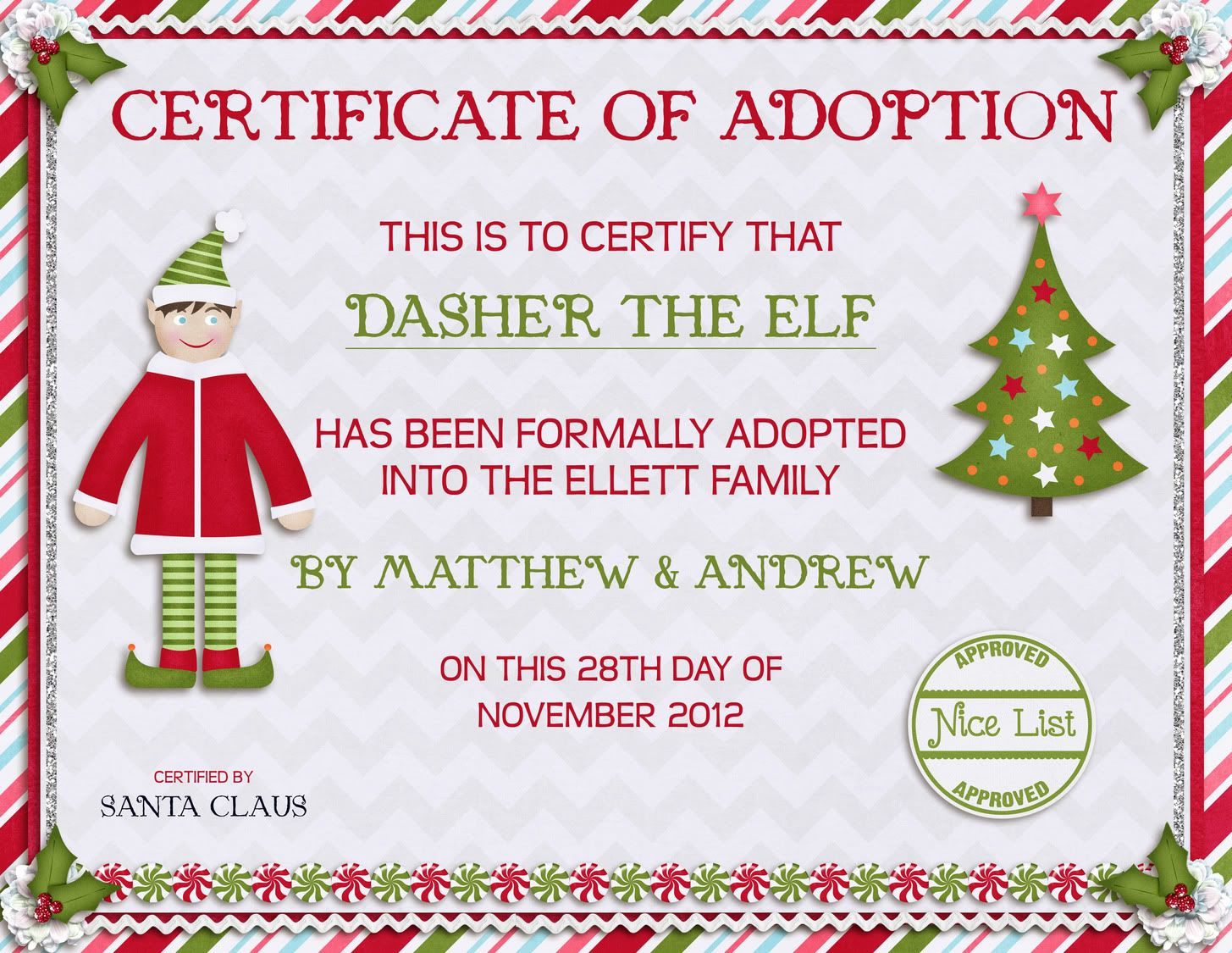 Elf on the shelf welcome latters letter from santa on dasher39s first night he39d come for Elf adoption certificate