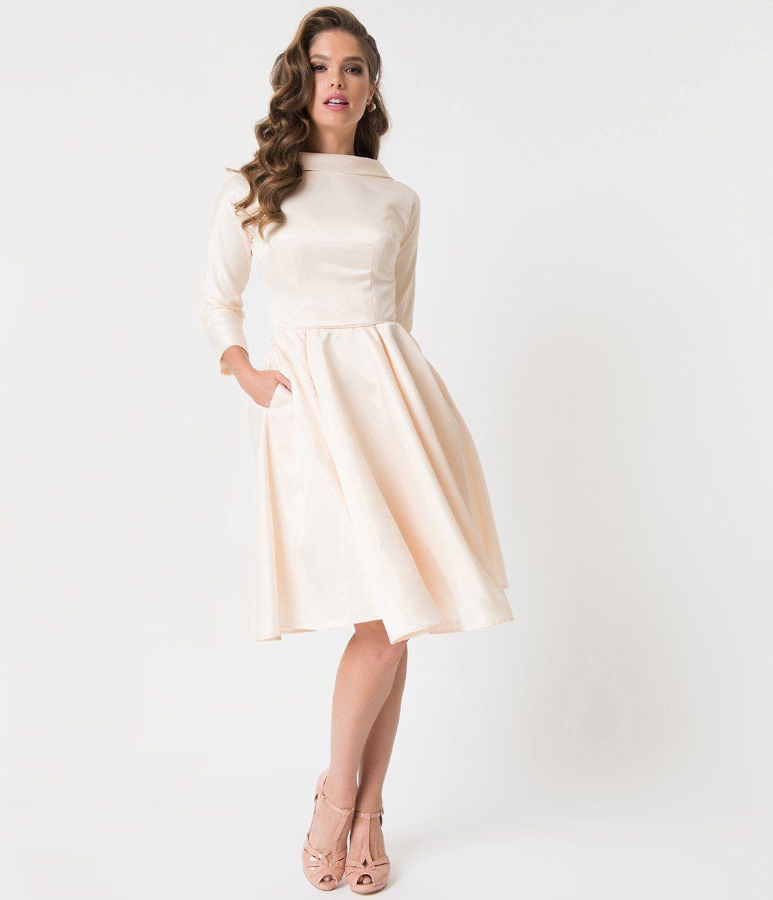 1950s style cream satin sleeved lana bridal dress in 2020