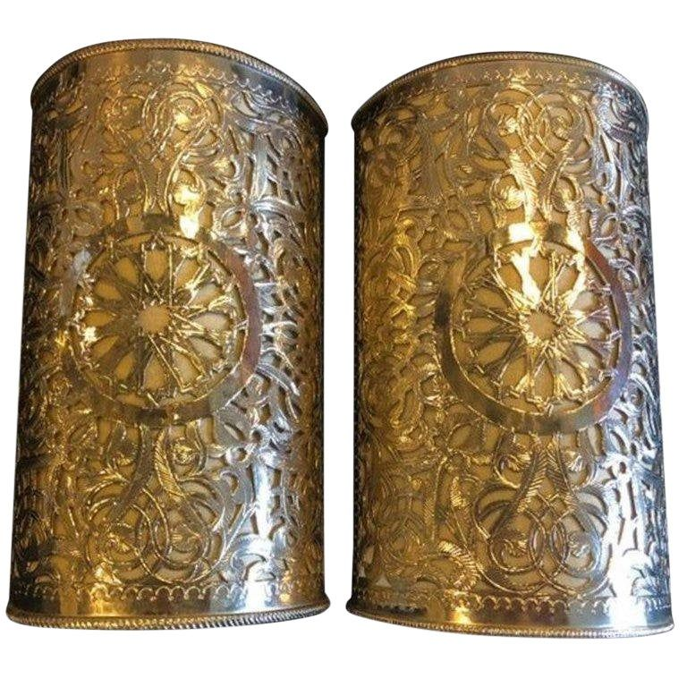 Moorish Filigree Handmade White Brass Wall Lanterns Sconces A