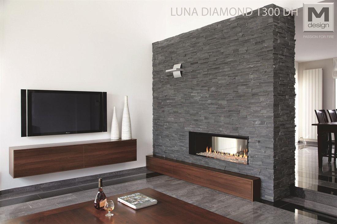 Chimenea panorámica de gas Luna Diamond 1300 DH Gold | Chimeneas ...
