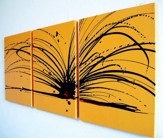 Abstract painting triptych wall art contemporary painting canvas art ...