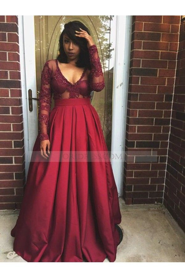 d18d9420f46 V Neck Taffeta Sweep Train Long Sleeve Burgundy A Line Prom Dress Os0628