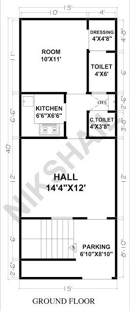 15x40 House Ground Floor Plan With 3d Elevation By Nikshail Ground Floor Plan Duplex House Plans 2bhk House Plan