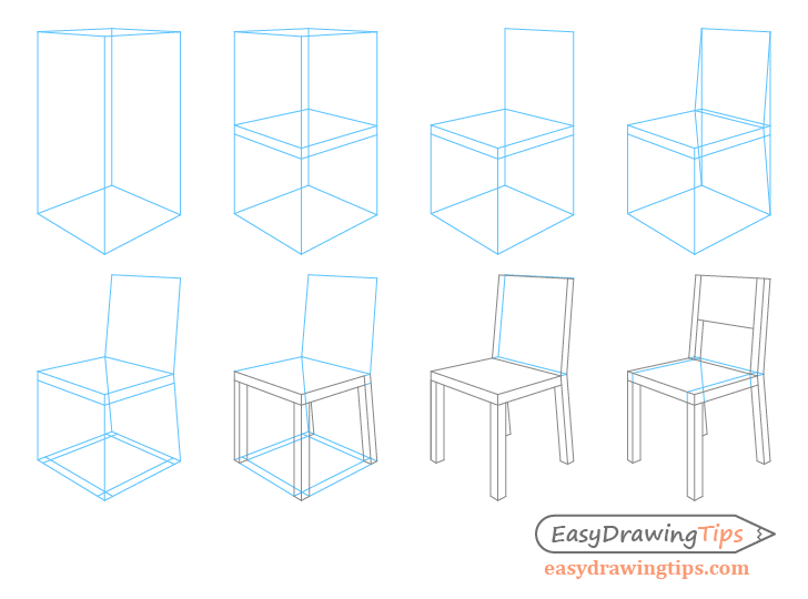 How To Draw A Chair In Perspective Step By Step Easydrawingtips In 2020 Drawing Furniture Chair Drawing Interior Design Sketches