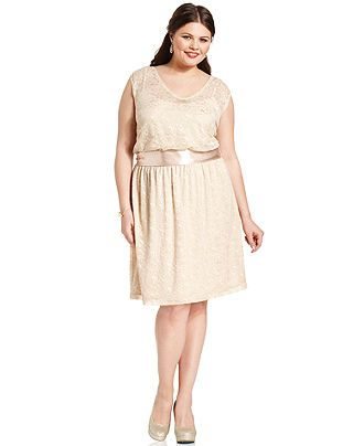 Love Squared Plus Size Dress Sleeveless Lace Belted Plus Size